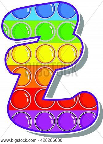 Letter Z. Rainbow Colored Letters In The Form Of A Popular Childrens Game Pop It. Bright Letters On