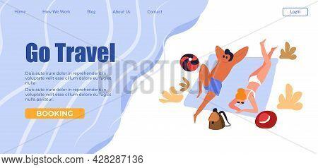 Go Travel People Sunbathing On Beach, Tourism