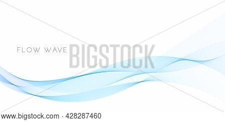 Abstract Background With Smooth Blue Wave Curve. Wavy Flow Design Isolated On White Background. Flui