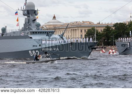St. Petersburg, Russia, July 22, 2021. The Military Small Rocket Ship Of The Project 21631 Buyan-m O