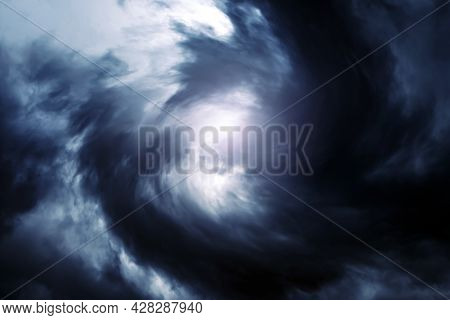Blurred Whirlwind In The Dark Storm Clouds