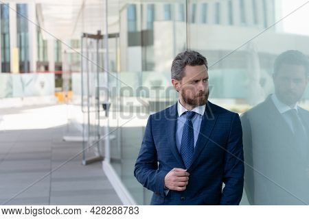 Mature Bearded Business Man In Businesslike Formal Suit Outside The Office, Business People