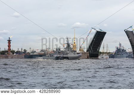July 22, 2021, Russia, St. Petersburg. The Small Rocket Ship Of The Project 22800 Odintsovo Sails Al