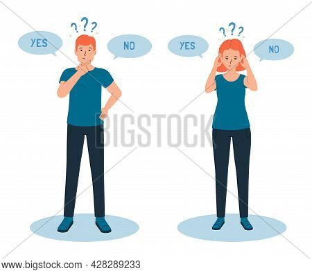 Man And Woman Have A Sense Of Doubt, It Is Difficult To Make The Right Choice, Yes Or No. The Concep