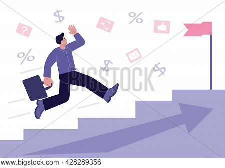 Fast Career And Career Advancement. Flat Vector Illustration.