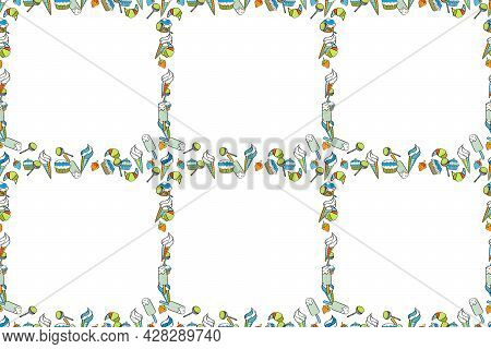 Picture In Black, White And Blue Colors. Seamless. Raster. Quadratic Frames Doodles.