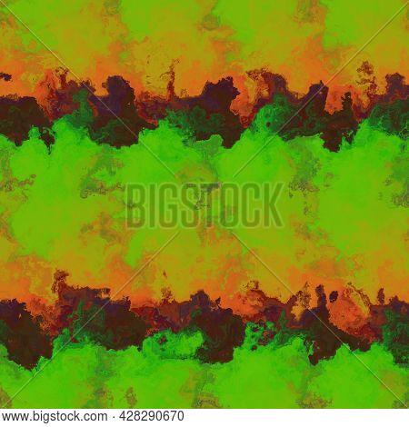 An Abstract Seamless Pattern In Oily Green, Orange And Dark Colors