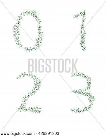 Green Tree Branch Set Of Figures Numbers. Alphabet Abc Font Capital Letters For Logo Design.