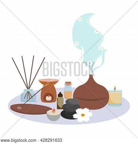 Composition With Aromatherapy Accessories. Essential Oils, Aroma Diffuser, Burning Candles, Stones,