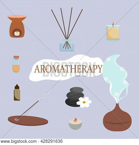 Aromatherapy Accessories. Essential Oils, Aroma Diffuser, Burning Candles, Stones, White Aroma Flowe