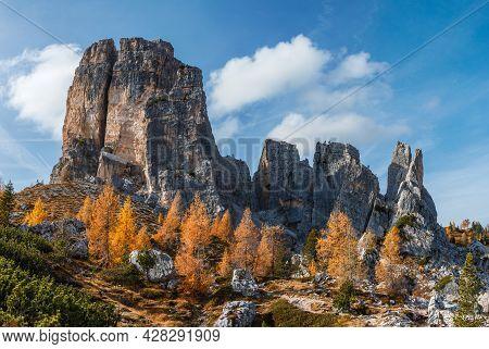 Italy, Dolomites, Cinque Torri. Nuvolao Group, Eastern Dolomites.