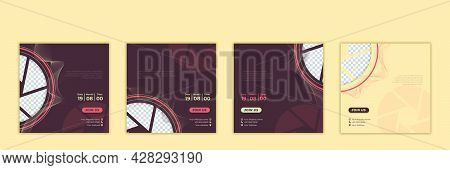 Set Of Social Media Template. Social Media Post Template With Camera Shutter And Brown Design. Good