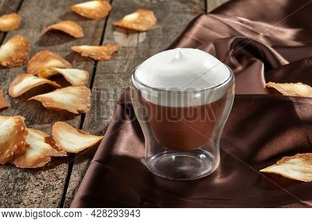 Chocolate Semifreddo With Airy Milk Foam And Shortbread Sesame Chips