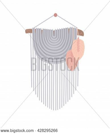 Macrame, Wall Hanging Of Cord. Diy Boho Style Interior Decor, Handmade Craft Knots. Vector Illustrat