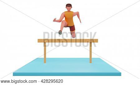 Front View Of 3D Athlete Man Jumping Over Hurdles On Blue And White Background.