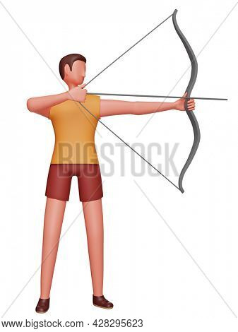 3D Character Of Male Athlete Practicing Archery On White Background.