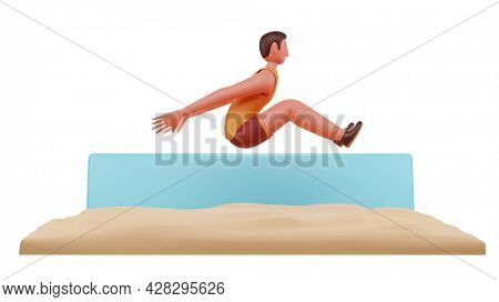 3D Male Athletic Doing Long Jump Illustration Over Background.