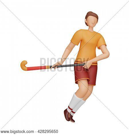 3D Illustration Of Female Hockey Player Holding Stick On White Background.