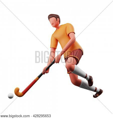 3D Rendering Of Male Hockey Player Hitting Ball With Stick On White Background.