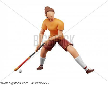 3D Rendering Of Female Hockey Player Hitting Ball With Stick On White Background.