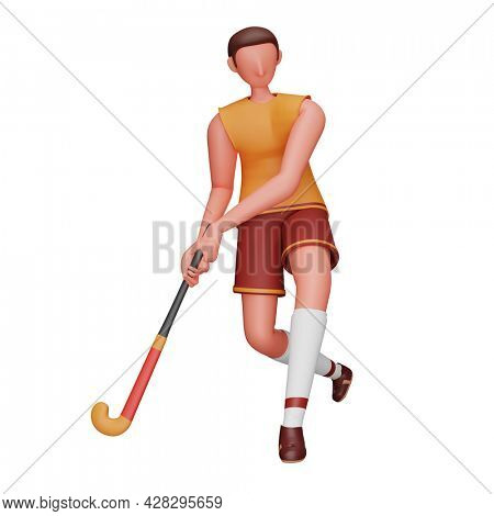 3D Rendering Of Male Hockey Player Holding Stick On White Background.