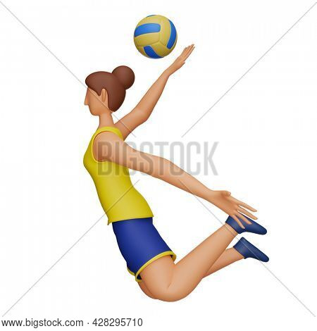 3D Rendering Of Female Athlete Playing Volleyball Over White Background.