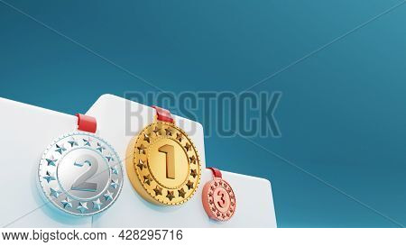 3D Pedestal Or Podium With Three Position Medals On Blue Background.
