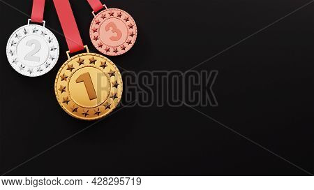 Three Position Of 3D Award Medal And Copy Space On Black Background.