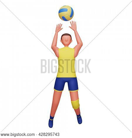 3D Illustration Of Male Volleyball Player In Action Pose.