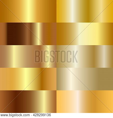 Set Gold Foil Texture. Shiny Golden Metal Gradient Set. elegant Decoration. Light Effect. Metallic