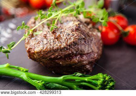 Estonian beef tenderloin steak. Delicious healthy traditional food closeup served for lunch in modern gourmet cuisine restaurant.