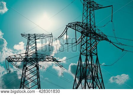 Electric Support Of High Voltage Power Cables. Metal Support With High Voltage Insulators Against Su