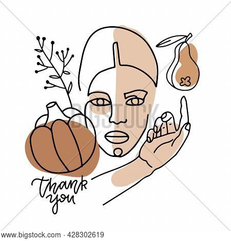 Trend Linear Portrait Of A Woman With Harvest - Pumpkin, Pear And Abstract Terracotta, Beige Shapes.