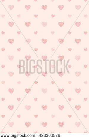Seamless glittery pink hearts patterned background