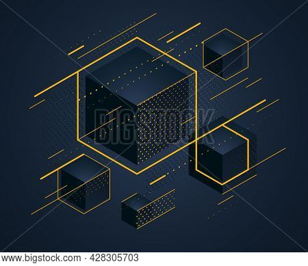 Abstract Vector Design With Cluster Of Black 3d Cubes With Golden Elements Vector Background, Royal