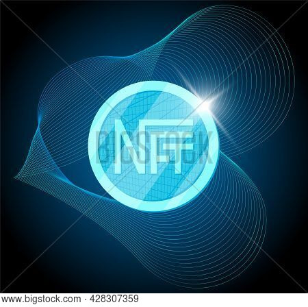 Nft Nonfungible Token On Abstract Linear Striped Blue Background. Online Money For Buy Exclusive Art