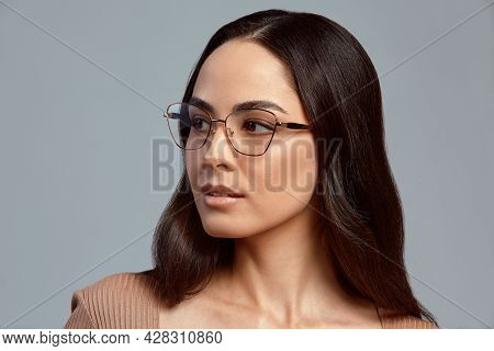 Stylish Woman In Glasses, Fashion Portrait Of A Business Woman In Stylish Glasses On A Gray Backgrou