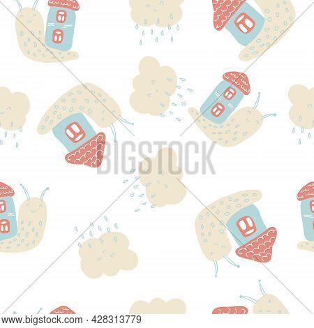 Tender Summer Seamless Pattern Of Snails And Rainy Clouds. Design For T-shirt, Textile And Prints. H