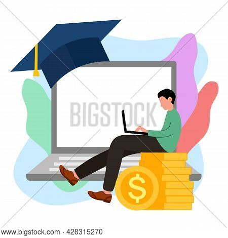 Online Education Scholarship Concept Vector Illustration On White Background. Website Digital Schola