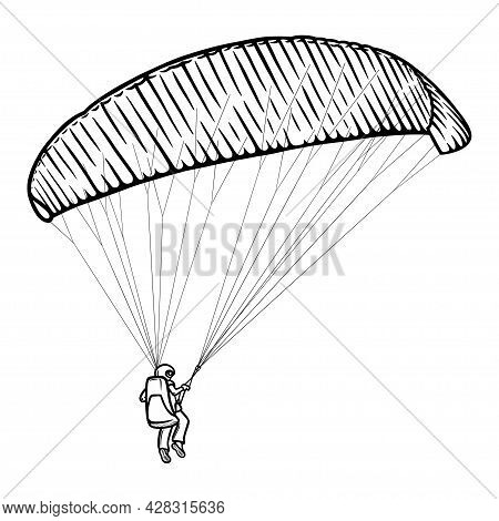 Paragliding Man Sketch. Paraglide Wing And Harness For Sky Flights. Monochrome Hand Drawn Vector Ill