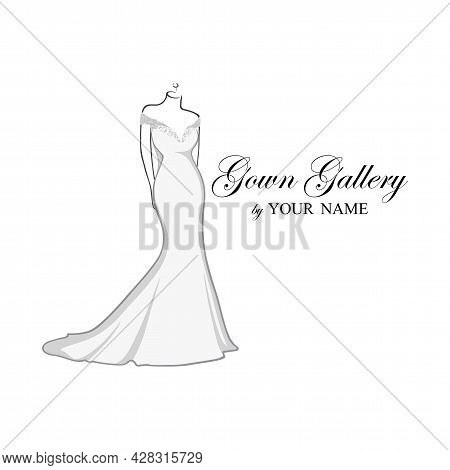 Beautiful Wedding Dresses Boutique Logo, Bridesmaid Gown Logo, Bridal Gown Logo Vector Design Templa