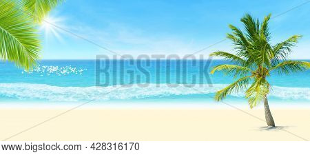 Summer Vacation And Holiday Trip Concept : Green Coconut Tree On Sand With Seascape View And Blue Sk