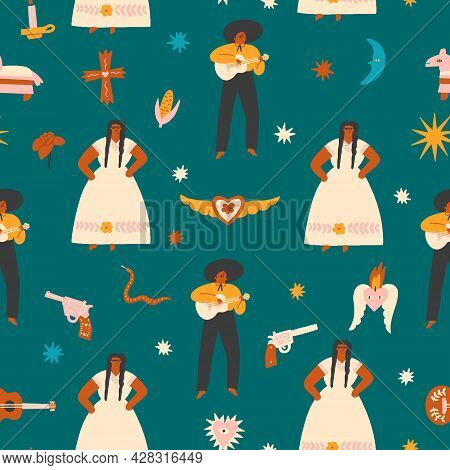 Latin Mexican Seamless Pattern With Dancing, Partying And Celebrating People In Folk Traditional Cos