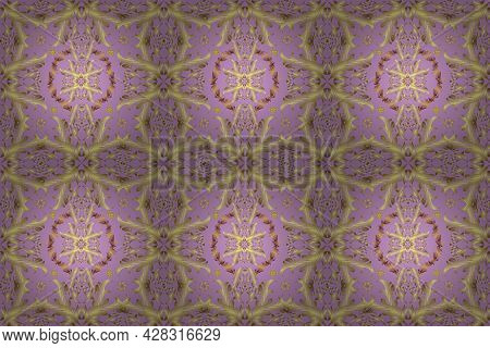 Seamless Oriental Ornament In The Style Of Baroque. Traditional Classic Golden Pattern. Raster Orien