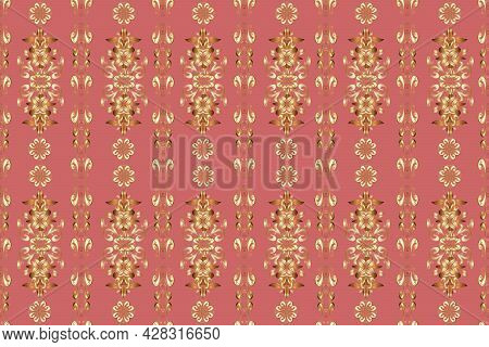 Gold Metal With Floral Pattern. Pink, Brown And Beige Colors With Golden Elements. Seamless Golden P