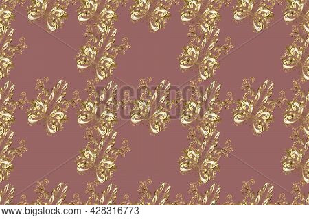 Seamless Golden Texture Curls. Brilliant Lace, Paisley. Oriental Style Arabesques. Seamless Pattern