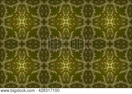 Seamless Classic Golden Pattern. Golden Pattern On Yellow, Neutral And Green Colors With Golden Elem