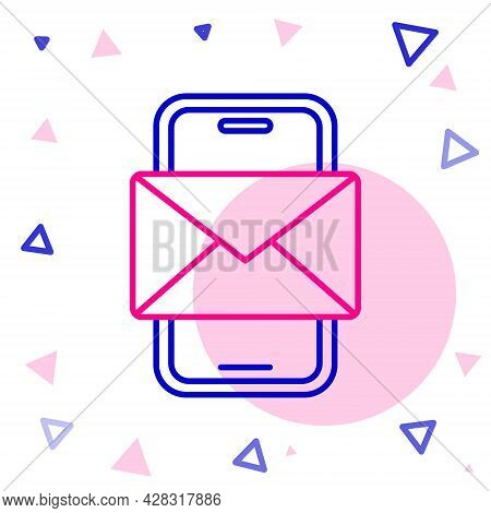 Line Mobile And Envelope, New Message, Mail Icon Isolated On White Background. Usage For E-mail News