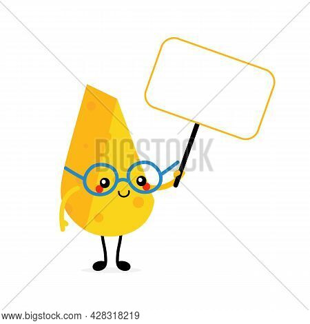 Cute Smart Cartoon Style Cheese Chunk, Dairy Product Character Holding In Hands Blank Sign, Banner,