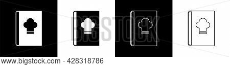Set Cookbook Icon Isolated On Black And White Background. Cooking Book Icon. Recipe Book. Fork And K